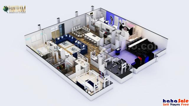Modern Style 3D Floor Plan Design with theater-kids room-game zone by 3d architectural design, Houst Gurun Kedah   hahaSale