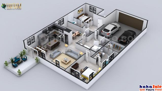 3D Floor Plan for 3D Contemporary Residential Home by Architectural Animation Studio, San Antonio, T Melor Kelantan | hahaSale