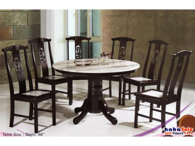 Sakura Marble Top 7 pcs Dining Set 48 Round Table RM899  : 14298 from hahasale.com size 640 x 480 jpeg 43kB