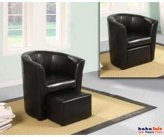 Angus Black Tub Chair with Footstool in Black Vinyl RM399
